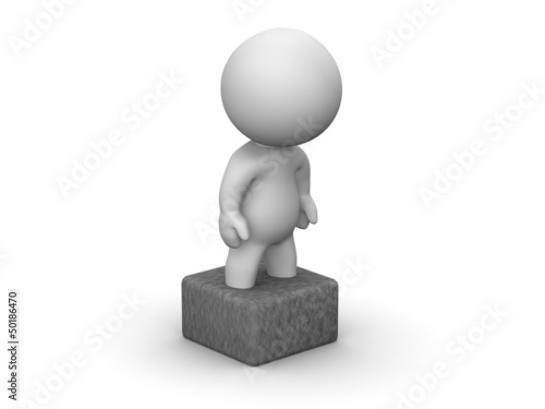 3D Man Stuck in concrete block