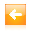 arrow left orange square glossy web icon
