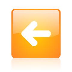 arrow left orange square glossy web icon