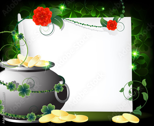 Leprechaun pot with gold coins