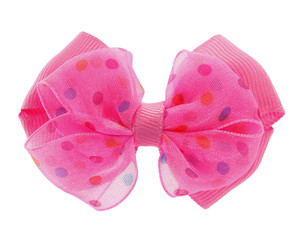 Hair bow tie pink with colorful dots