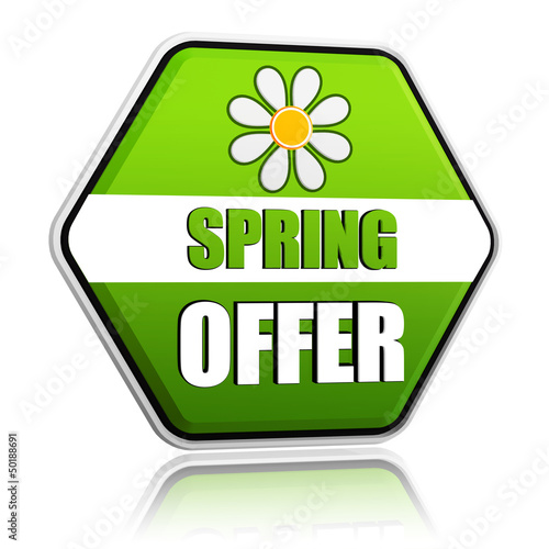 spring offer green hexagon label with flower