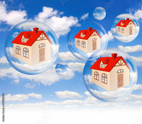 House bubble on the background blue sky on white
