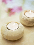 Votive candles in rock holder