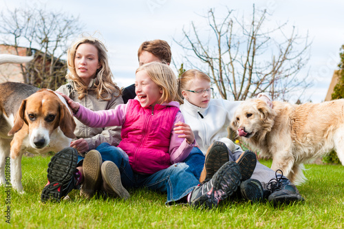 Family sitting with dogs together on a meadow