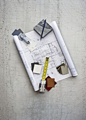 Blueprints, color swatches and measuring tape
