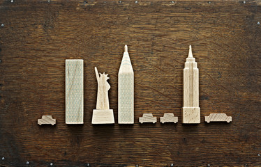New York city landmarks carved out of wood