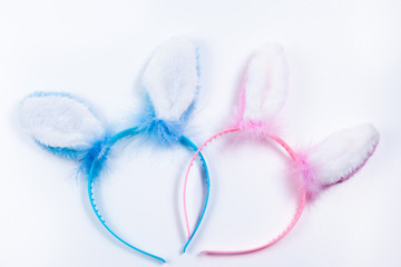 pink Bunny Ears on white background for girls