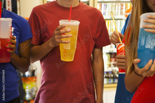 Friends drinking soda