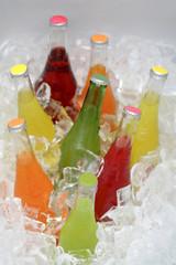 Soda bottles in ice