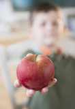 Caucasian boy holding red apple in classroom