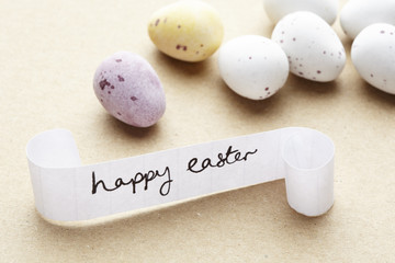 Happy easter message with chocolate eggs