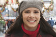 Smiling Caucasian woman at Christmas time
