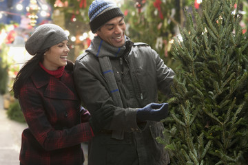 Couple buying Christmas tree