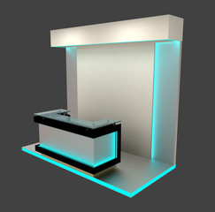 exhibition module with blue lighting