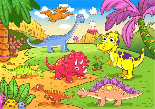 Cute dinosaurs in prehistoric scene
