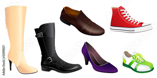 Set of Realistic Shoes in Vector