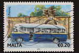 Malta - circa 2011; stamp shows traditional,classic Maltese bus