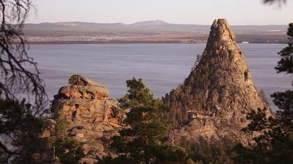 Autumn landscape. Okzhetpes Rocks in Burabay.