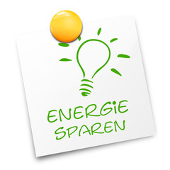 Zettel Lampe Energie sparen