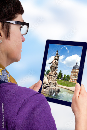 Woman with Tablet PC from sight