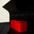 red plastic reception counter