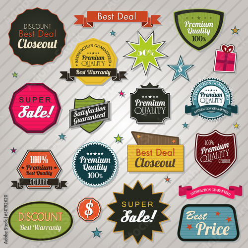 Sales price tags stickers and ribbons eps 10
