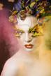 creative make up like butterfly in smoke