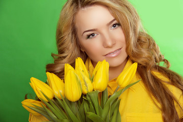 Beautiful Girl With Tulip Flowers. Beauty Model Woman Face. Perf