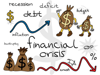 Financial crisis cartoon set. Funny money bags going forward.