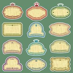 twelve vector grunge labels (CMYK colors)
