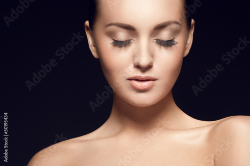 portrait of beautiful young model, with eyes closed