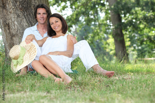 Couple relaxing in the shade