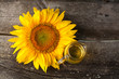 sunflower oil on wooden table