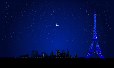 eiffel tower night city in paris