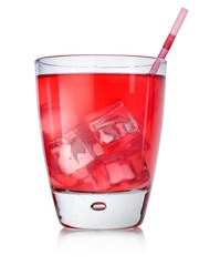 Red cocktail with straw