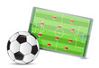 Soccer field tactic table, soccer balls
