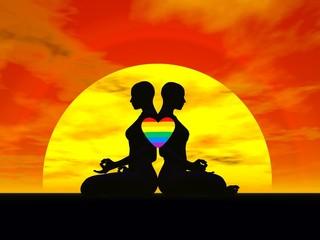 Lesbian yoga love - 3D render