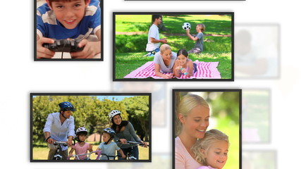 Montage of family clips into frames on white background
