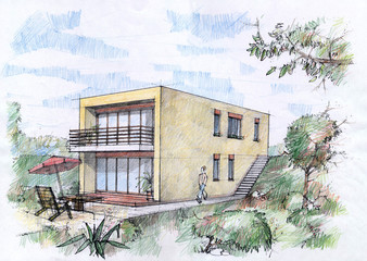 Modern house sketch by color pencils