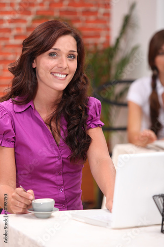 Woman in restaurant with computer