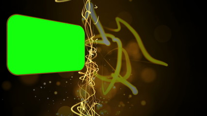 Montage of green screens with abstract golden lines