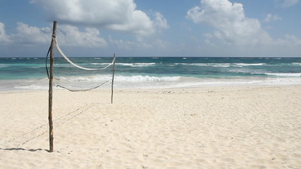 Volleyball court on the beach. Tulum, Mexico.