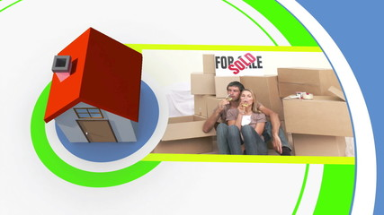 Moving home montage with copyspace