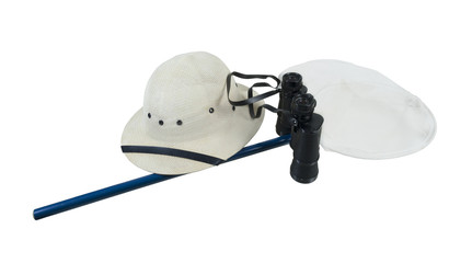 Binoculars Pith Helmet and Butterfly Net