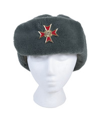 Wearing Fur Cap with Cross Emblem