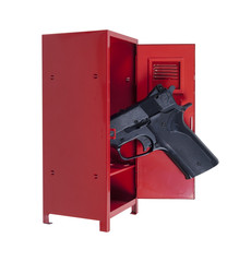 Handgun in a Red Locker