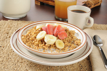 Granola with strawberries and bananas