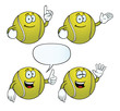 Collection of smiling tennis balls with various gestures.