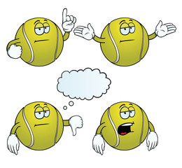 Collection of bored tennis balls with various gestures.